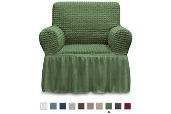 (ARMCHAIR, Olive) - NICEEC Armchair Slipcover Green Armchair Covers 1 Piece Easy Fitted Sofa Couch Cover Universal High Stretchable Durable Furniture Protector with Skirt Country Style (1 Seater Olive)