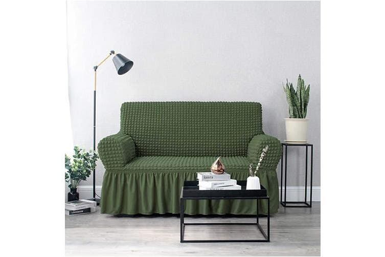 (LOVESEAT, Olive) - NICEEC Loveseat Slipcover Green Loveseat Cover 1 Piece Easy Fitted Sofa Couch Cover Universal High Stretch Durable Furniture Protector Love Seat with Skirt Country Style (2 Seater Olive)