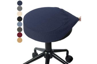 (1pc/Dia.36cm  - 42cm , Navy Blue) - BUYUE Bar Stool Covers Round Washable Jacquard Chair Seat Slipcover for Dia.36cm - 42cm , 1, Navy Blue