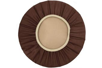 (46cm , Coffee) - Augld Round Bar Stool Cover Watedrproof Faux Leather Stool Slipcover 46cm Coffee