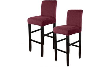 (Velvet Burgundy) - Augld 2PCS Bar Stool Covers Solid Square Counter Height Stool Covers Velvet Burgundy