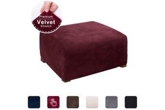 (Wine Red) - ACOMOPACK Ottoman Slipcover, Velvet Stretch Footstool SlipCover Elastic Rectangle Ottoman Cover for Furniture, Sofa Slip Cover for Dog Cat Pet Protector Foot Rest Stool Furniture (Wine Red)