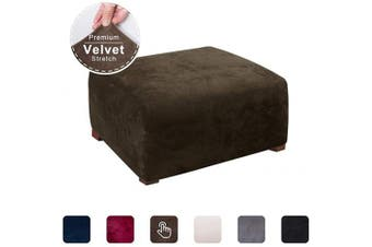 (Coffee) - ACOMOPACK Ottoman Slipcover, Velvet Stretch Footstool SlipCover Elastic Rectangle Ottoman Cover for Furniture, Sofa Slip Cover for Dog Cat Pet Protector Foot Rest Stool Furniture (Coffee)