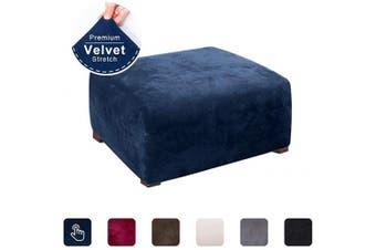 (Navy Blue) - ACOMOPACK Ottoman Slipcover, Velvet Stretch Footstool SlipCover Elastic Rectangle Ottoman Cover for Furniture, Sofa Slip Cover for Dog Cat Pet Protector Foot Rest Stool Furniture