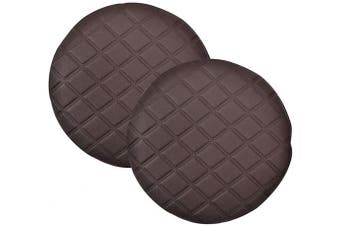 (Dia 33cm , Coffee) - Pinji 2PCS Stool Cover Faux Leather Round Bar Cover Seat Cushion Proctector Dia 11.8inch/30cm