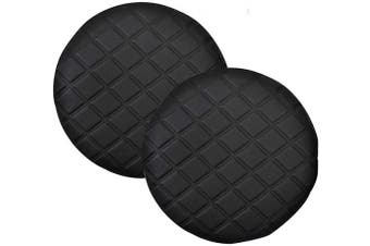 (Dia 33cm , Black) - Pinji 2PCS Stool Cover Faux Leather Round Bar Cover Seat Cushion Proctector Dia 11.8inch/30cm