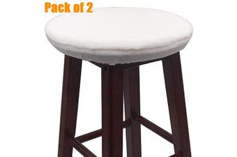 (36cm , White) - Augld Bar Stool Cover, Short Faux Wool Round Wooden Stool Cushion Cover 2 PCS White 36cm