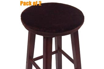 (36cm , Coffee) - Augld Bar Stool Cover, Short Faux Wool Round Wooden Stool Cushion Cover 2 PCS Coffee 36cm