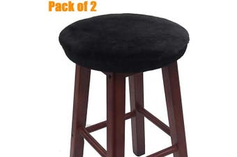 (28cm , Black) - Augld Bar Stool Cover, Short Faux Wool Round Wooden Stool Cushion Cover 2 PCS Black 28cm