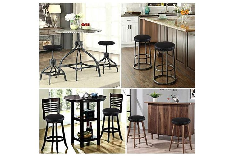 (30cm , Pu Leather Black) - JISEN Waterproof PU Leather Round Bar Stool Cover Padding Cushion Elastic Protectors with Fixing Strap 30cm Black