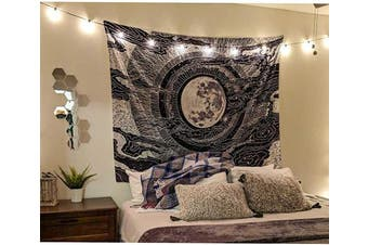 (130cm  x 150cm , Black) - Accnicc Moon and Star Tapestry Wall Hanging Tapestries Black & White Wall Blanket Wall Art for Living Room Bedroom Home Decor