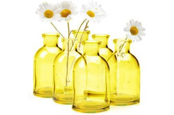 """(Yellow Tall Bottle Bulk 10) - Chive - Loft, Set of 10 Yellow Tall Bottle 4.4cm Width, 3.25"""" Tall Small Glass Flower Vases, Decorative Rustic Floral Vases for Home Decor Centrepieces, Events, Single Flower Bud Vase, Vintage Look"""