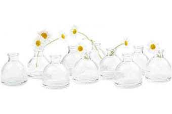 (Clear Round Bulk 10) - Chive - Loft, Set of 10 Clear Round 5.7cm Width, 5.7cm Tall Small Glass Flower Vases, Decorative Rustic Floral Vases for Home Decor Centrepieces, Events, Single Flower Bud Vase, Vintage Look