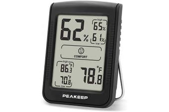 (1) - Peakeep Digital Hygrometer Thermometer, Accurate Room Indoor Humidity and Temperature Gauge Monitor Metre Indicator with Min and Max Records (1 Pcs)