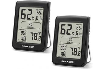 (2) - Peakeep Digital Hygrometer Thermometer, Accurate Room Indoor Humidity and Temperature Gauge Monitor Metre Indicator with Min and Max Records (2 Pcs)