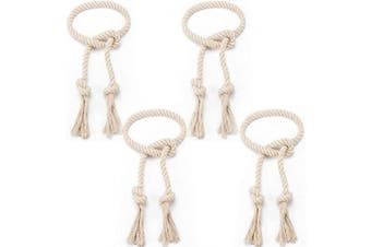 Apipi 4 Pcs Natural Cotton Curtain Tiebacks- Village Style Curtain Holdback Rope, Curtain Decorative Holdbacks for Rural Style Drapery Tieback