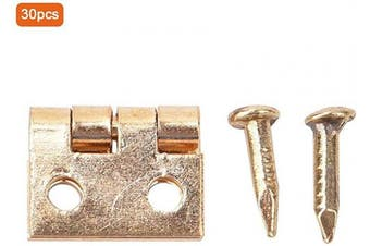 30PCS Mini Brass Hinge, Retro Self-Closing Door Hinge Door Hinge Polished Brass Mini Brass Hinges Hardware 180 Degree Rotation for Wood Cabinet Jewellery FurnitureBox