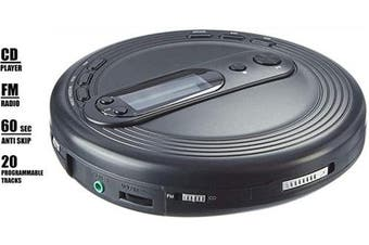 Deluxe Products Portable CD Player with Anti-Skip Protection, FM Radio and Stereo Earbuds - Black