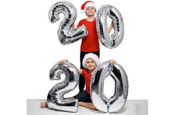 (Color 2: Silver) - 2020 Balloons Silver Number Balloons for 2020 Graduation Balloon Decorations New Year Eve Festival Party Supplies, 100cm