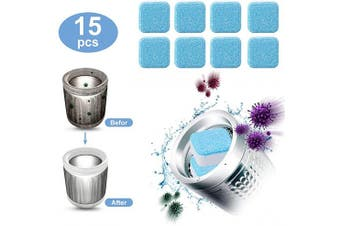 (15pcs) - 15 Pieces Effervescent Tablet Washer Cleaner- Solid Washing Machine Cleaner, Deep Cleaning Remover with Triple Decontamination for Bath Room Kitchen