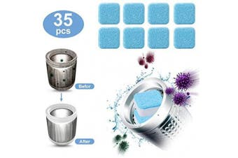 (35pcs) - 35 Pieces Effervescent Tablet Washer Cleaner- Solid Washing Machine Cleaner, Deep Cleaning Remover with Triple Decontamination for Bath Room Kitchen