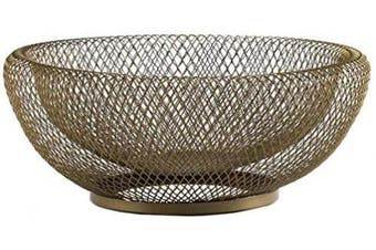(Gold) - Metal Wire Fruit Basket,Large Round Storage Baskets for Bread,Fruit,Snacks,Candy,Households Items.Fashion Fruit Bowl Decorate Living Room, Kitchen, Countertop,Gold By Cq acrylic