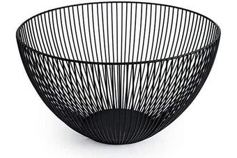 (Black) - Metal Wire Fruit Basket,Large Round Storage Baskets for Bread,Fruit,Snacks,Candy,Households Items.Fashion Fruit Bowl Decorate Living Room, Kitchen, Countertop,Black By Cq acrylic