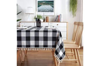 (140cm  x 260cm , Black and White) - AmHoo Buffalo Checked Tassel Plaid Tablecloth Rectangle Polyester Washable Table Covers Farmhouse Gingham for Kitchen Dinner Party Decoration,Black and White,140cm x 260cm