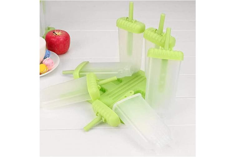 (Green) - LERTREE 6 Cells Ice Lolly Moulds Reusable DIY Frozen Ice Cream Pop Lolly Maker with Non-Spill Lid Cleaning Brush and Silicone Folding Funnel (Green)