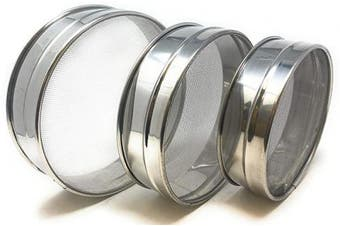 Stainless Steel Sieve ~ Set of 3 ~ for Flours, Seeds, Beans & Lentils - Sizes 17cm , 19cm , 21cm by Rani Brand