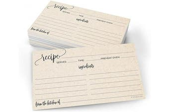 (X-Small (7.6cm  x 13cm ), Tan) - 321Done Small Recipe Cards (Set of 50) 3x5 From the Kitchen Of, Modern Scribble Kraft Tan Rustic Boho Minimalist for Wedding, Bridal Shower Double-Sided - Made in USA