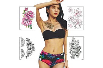 (Flower) - Temporary Tattoos for Women - 4 Sheets Fake Tattoo Stickers Rose Flowers Body back chest legs Waterproofing (Flower)