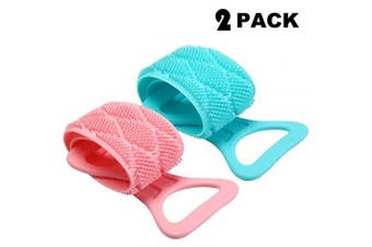 (Pink and Blue) - 2 Pieces Silicone Bath Body Belt Scrubber Exfoliating Back Washer Silicone Back Scrubber Silicone Back Brush for Men Women Bathroom Supplies