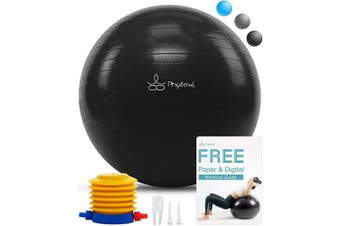(65 cm, Black) - PHYLLEXI Exercise Ball Extra Thick - Pro Grade Anti-Burst Stability Yoga Ball (55-85cm), Fitness, Pilates, Birthing Ball Chair with Pump, Supports 1000kg