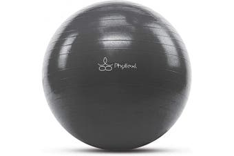 (75 cm, Grey) - PHYLLEXI Exercise Ball Extra Thick - Pro Grade Anti-Burst Stability Yoga Ball (55-85cm), Fitness, Pilates, Birthing Ball Chair with Pump, Supports 1000kg