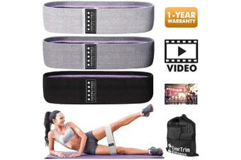 (Black,Grey,Light Grey) - Resistance Bands for Legs and Butt, Exercise Bands Booty Bands Hip Bands Wide Workout Bands Sports-Fitness Bands Stretch Resistance Loops Band Anti Slip Elastic (Set of 3)