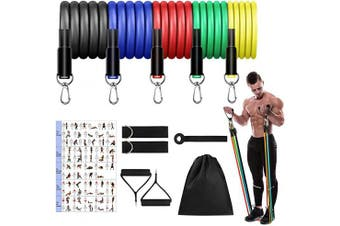 (Yellow, Green, Red, Blue, Black) - Mokani Resistance Bands Set (11pcs), Exercise Bands with Door Anchor & Handles, Home Gym Equipment Men Women Legs Ankle for Resistance Training,Home Workouts,Fitness