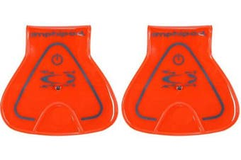 (Neon Orange) - Amphipod Vizlet Wearable Triangle LED Reflector Clip On