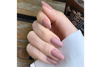 Brishow Coffin False Nails Long Fake Nails Ballerina Matte Stick on Nails Full Cover Acrylic False Nail 24pcs for Women and Girls(Nude Pink)
