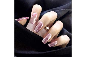 Brishow False Nails Coffin Long Fake Nails Stick on Nails Pink Glitter Acrylic False Nail Tips 24pcs for Women and Girls