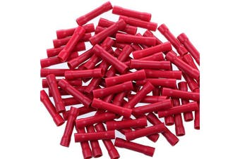 (22-16 AWG, 200, Red) - AIRIC Red Butt Connectors Crimp 200pcs 22-16AWG Butt Connector Fully Insulated PVC Wire Butt Splice Connectors, 22-16 Gauge
