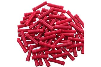 (22-16AWG, 100pcs) - AIRIC 100pcs Butt Splice Crimp Connectors, Red 22-16 Gauge Vinyl Fully Insulated PVC Wire Cable Butt Splice Connectors