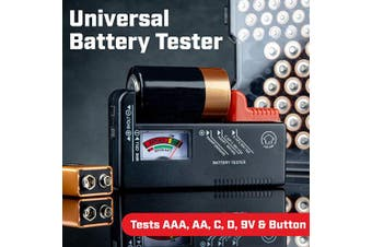 (1 Pack) - Volt Vault Battery Tester Checker – Universal Battery Tester for AAA, AA, C, D, 9V and Small Batteries, Battery Life Level Testers with Voltage Power Metre
