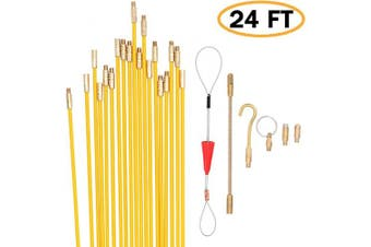 (7.3m) - Jeemotery 7.3m Fibreglass Fish Tape Cable Rods, Electrical Wire Running Pull/Push Kit | Fishing Feeder Pole Sticks Snake Tool for Coaxial Wall Wiring
