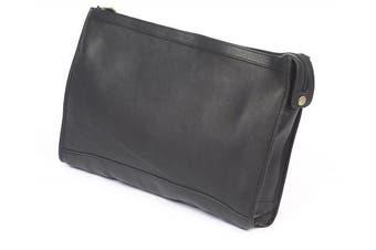 (Black) - Claire Chase 624E -black Zippered Folio Pouch - Black