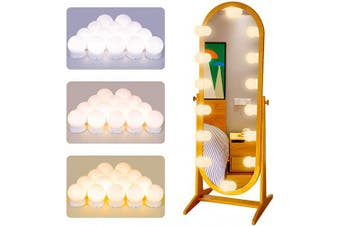 (White) - Vanity Mirror Lights Kits LED Lights for Makeup Mirror Hollywood Vanity Mirror Lights with 14 LED Bubbles for Bathroom Dressing Table Mirror Lights Wall Mount Lights Kit for Decor (White)