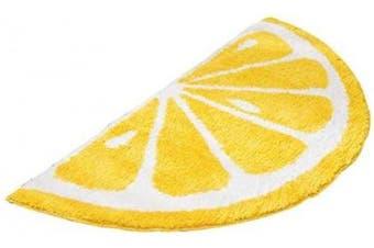(50*100CM, Yellow) - Playtime Cosy Lemon Cute Fruits Half Round Shaped Bedroom Bathroom Doorway Kitchen Floor Rug Carpet Water Absorption Non-Slip mat for Kid's Room (Yellow, 50100CM)