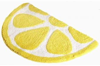 (50*80CM, Yellow) - Baby Playtime Cosy Lemon Cute Fruits Half Round Shaped Bedroom Bathroom Doorway Kitchen Floor Rug Carpet Water Absorption Non-Slip mat for Kid's Room (Yellow, 50x80CM)