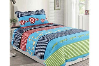 (Animals) - Sapphire Home 2pc Twin Size Bedspread Quilt Set Bedding for Kids Teens Boys Girls, Crocodile Giraffe Animals Design Blue Green Coverlet, Twin Bedspread + Pillow Sham, Twin XJ21 Animals