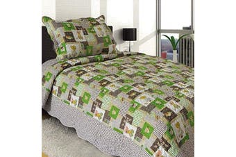 (Patchwork-doll) - Sapphire Home 2pc Twin Size Bedspread Quilt Set Bedding for Kids Girls, Patchwork Doll Puppy Coverlet, Twin Bedspread + Pillow Sham, Twin CJ95 Patchwork Doll